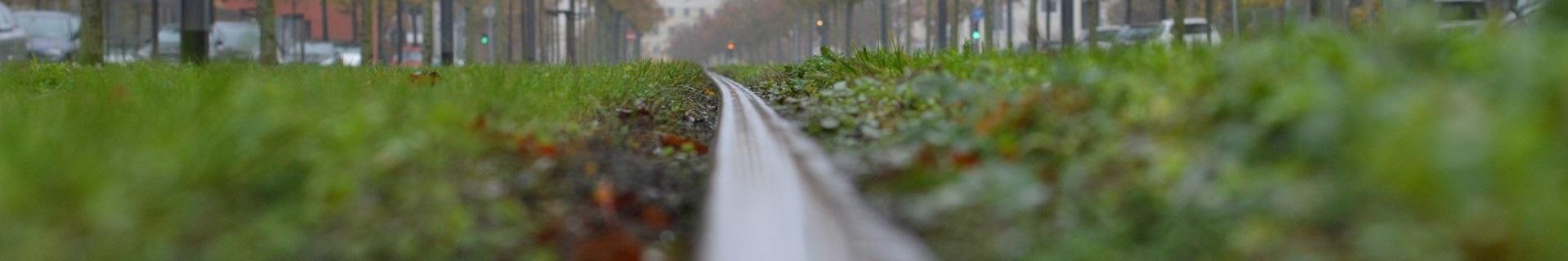 Rasengleis bei Regen, Bahntechnik, Bahnbetrieb